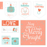 Set of cute Valentines day gift tags Stock Image
