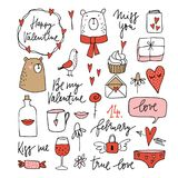 Set of cute Valentines doodle sketches. Wedding clip-arts of bears, dove, glass of wine, lips, envelope and hearts. Simple design. Isolated hand drawn vector Stock Photos