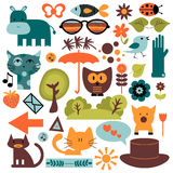 Set of cute various elements Royalty Free Stock Photo