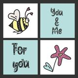 Set of cute vector cards for St. Valentine`s Day with illustrations and lettering messages. Set of cute vector cards for St. Valentine`s Day with illustrations vector illustration