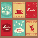 Set of cute vector cards about winter Royalty Free Stock Photography