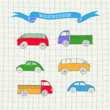 Set of cute vector cars Royalty Free Stock Images