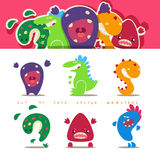 Set of cute vector cartoon monsters in kids style Royalty Free Stock Photos
