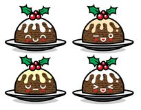Set of cute vector Christmas pudding characters with different emotions. Isolated on white background. Can be used for festive design, brochure, flyer Royalty Free Stock Photo