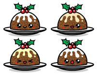 Set of cute vector Christmas pudding characters. With different emotions isolated on white background. Can be used for festive design, brochure, flyer Stock Photos