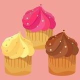 Set of cute vector cupcakes. Royalty Free Stock Photos