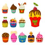 Set of cute vector cupcakes and muffins chocolate celebration birthday food sweet bakery party cute sprinkles decoration Royalty Free Stock Photography