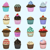 Set of cute vector cupcakes and muffins. Stock Images