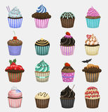 Set of cute vector cupcakes and muffins. Royalty Free Stock Image
