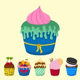 Set of cute vector cupcakes and muffins chocolate celebration birthday food sweet bakery party cute sprinkles decoration Royalty Free Stock Photos