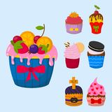 Set of cute vector cupcakes and muffins  Royalty Free Stock Photo