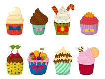 Set of cute vector cupcakes and muffins chocolate celebration  Royalty Free Stock Images