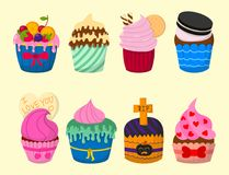 Set of cute vector cupcakes and muffins chocolate celebration birthday food sweet bakery party cute sprinkles decoration Stock Image