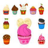 Set of cute vector cupcakes and muffins chocolate celebration birthday food sweet bakery party cute sprinkles decoration Stock Photos