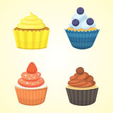 Set of cute vector cupcakes and muffins. Colorful cupcake  for food poster design. Stock Image