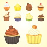 Set of cute vector cupcakes and muffins. Colorful cupcake  for food poster design. Set of cute vector cupcakes and muffins. Colorful cupcake  for food poster Royalty Free Stock Images