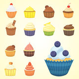 Set of cute vector cupcakes and muffins. Colorful cupcake isolated for food poster design. Royalty Free Stock Photography