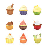 Set of cute vector cupcakes and muffins. Colorful cupcake isolated for food poster design. Stock Photography