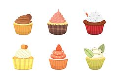 Set of cute vector cupcakes and muffins. Colorful cupcake isolated for food poster design. Stock Photos