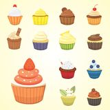 Set of cute vector cupcakes and muffins. Colorful cupcake isolated for food poster design. Set of cute vector cupcakes and muffins. Colorful cupcake isolated Royalty Free Stock Photos