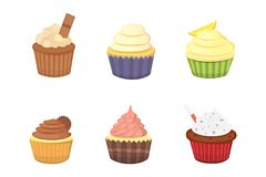 Set of cute vector cupcakes and muffins. Colorful cupcake isolated for food poster design. Set of cute vector cupcakes and muffins. Colorful cupcake isolated Stock Images
