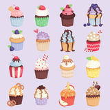 Set of cute vector cupcakes and muffins isolated illustration. Set of cute vector cupcakes and muffins. Chocolate celebration birthday food. Sweet bakery party Royalty Free Stock Image