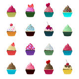 Set of cute vector cupcakes and muffins. Royalty Free Stock Photography