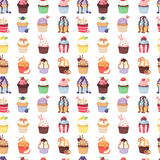 Set of cute vector cupcakes and muffins seamless pattern Stock Images