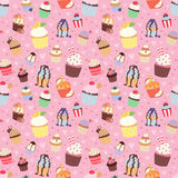 Set of cute vector cupcakes and muffins seamless pattern Stock Photography