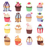 Set of cute vector cupcakes and muffins  on white Royalty Free Stock Photo