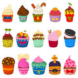 Set of cute vector cupcakes and muffins  on white. Set of cute vector cupcakes and muffins. Chocolate celebration birthday food. Sweet bakery party cute Stock Images