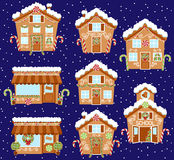 Set of Cute Vector Holiday Gingerbread Houses, Shops and Other Buildings Royalty Free Stock Photos