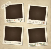 Set of cute vector retro floral photo frames Royalty Free Stock Photos