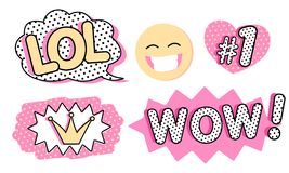 Set of cute vector stickers. Bubble for text, princess crown, WOW, LOL icons and laughing emoji.