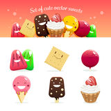 Set of cute vector sweets Stock Image