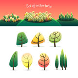 Set of cute vector trees Stock Image
