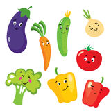 Set of cute vegetables in the form of characters. Eggplant, tomato, cucumber, onion, paprika, pepper, broccoli and carrots. Royalty Free Stock Images