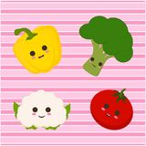 Set with cute vegetables and lines Stock Photos