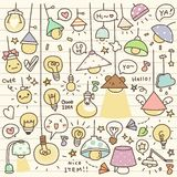 Set of Cute Vintage Bulb Doodle Royalty Free Stock Image