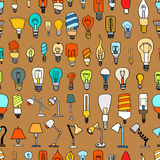 Set of Cute Vintage Bulb Doodle Royalty Free Stock Photo