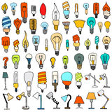 Set of Cute Vintage Bulb Doodle Royalty Free Stock Images