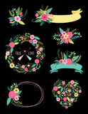 Set of cute vintage elements as rustic hand drawn first spring flowers Royalty Free Stock Image