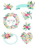 Set of cute vintage elements as rustic hand drawn first spring flowers Royalty Free Stock Photography