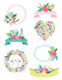 Set of cute vintage elements as rustic hand drawn first spring flowers Royalty Free Stock Photos