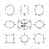 Set of 9 cute vintage frames of different orientations and format Royalty Free Stock Images