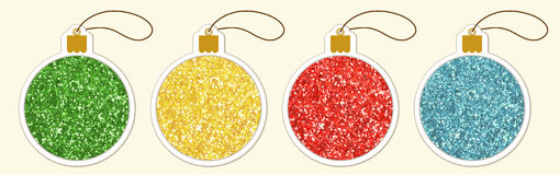 Set of cute vintage glitter price tags shaped as Christmas balls Stock Photo