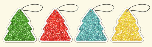 Set of cute vintage glitter price tags shaped as Christmas tree. For your decoration Stock Images