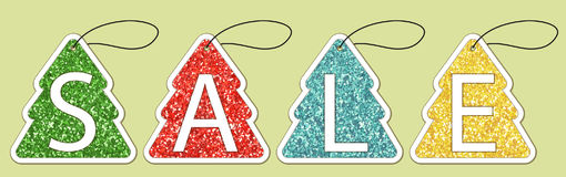 Set of cute vintage glitter price tags shaped as Christmas tree. For your decoration Royalty Free Stock Image