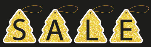 Set of cute vintage glitter price tags shaped as Christmas tree. For your decoration Stock Image