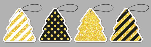 Set of cute vintage glitter price tags shaped as Christmas tree. For your decoration Royalty Free Stock Photos